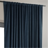 Signature Midnight Blue Double Wide Velvet Blackout Pole Pocket Curtain