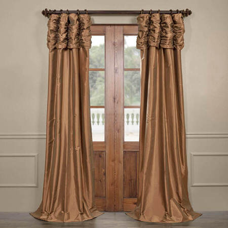 Gold Nugget Ruched Faux Solid Taffeta Curtain