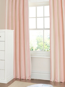 Striped Faux Silk Taffeta Curtains