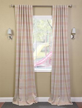 Peaches n' Cream Plaid Black Out Pole Pocket Curtain