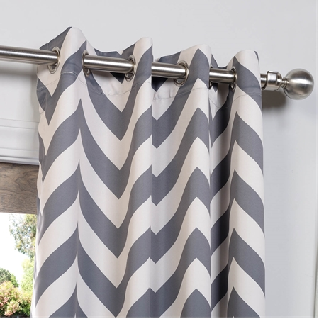 Fez Grey & Tan Grommet Blackout Curtain