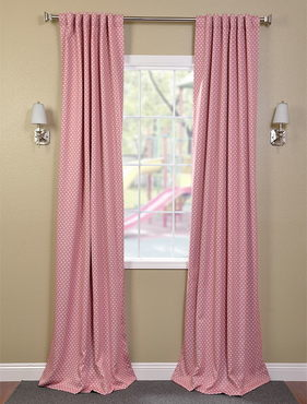 Peach Polka Dot Black Out Pole Pocket Curtain