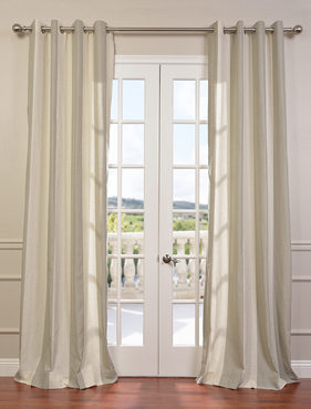 Del Mar Stone Grommet Linen Blend Stripe Curtain