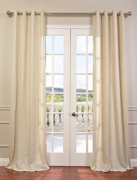 Lanai Natural Grommet Linen Blend Stripe Curtain