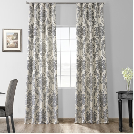 Magdelena Silver & Blue Faux Silk Jacquard Curtain