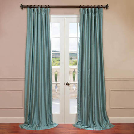 Blue Agave Yarn Dyed Faux Dupioni Silk Curtain