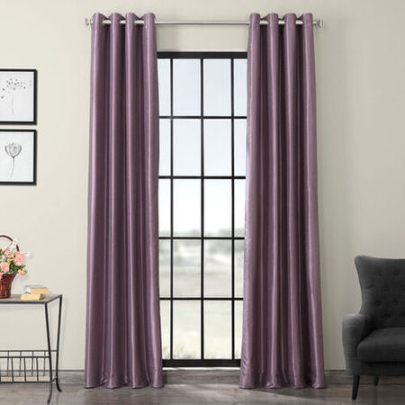 Smokey Plum Grommet Blackout Vintage Textured Dupioni Silk Curtain