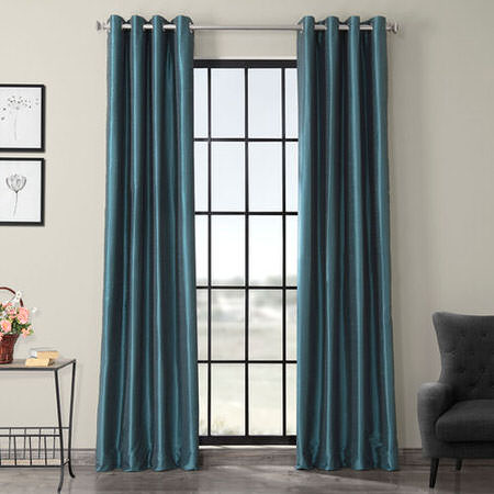 Peacock Grommet Blackout Vintage Textured Dupioni Silk Curtain