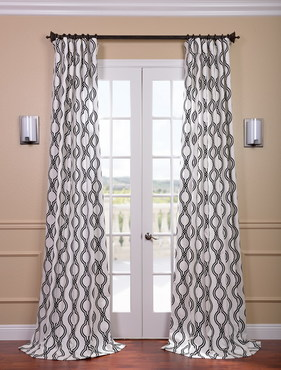 Ogee Black Printed Cotton Curtain