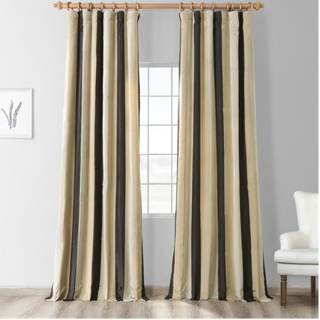 Sake Faux Silk Taffeta Stripe Curtain