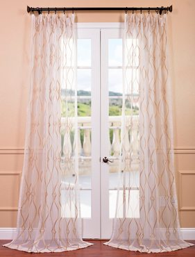 Contessa Gold Embroidered Sheer Curtain
