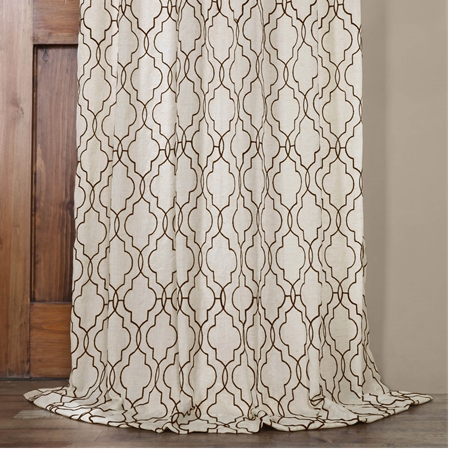 Saida Chocolate Embroidered Faux Linen