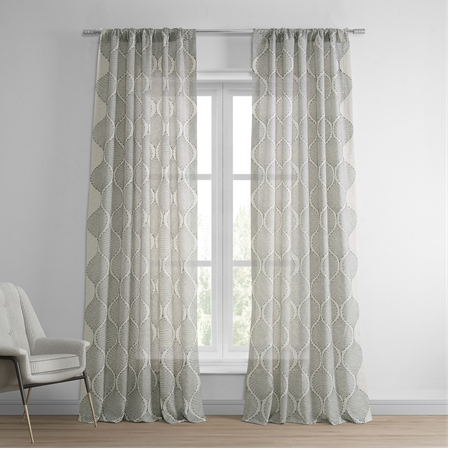 Dreamweaver Taupe Embroidered Faux Linen