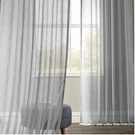 Nickel Faux Linen Sheer Curtain