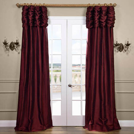 Ruched Merlot Thai Silk Curtain