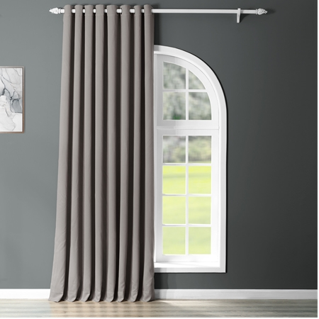 Neutral Grey Grommet Doublewide Blackout Curtain
