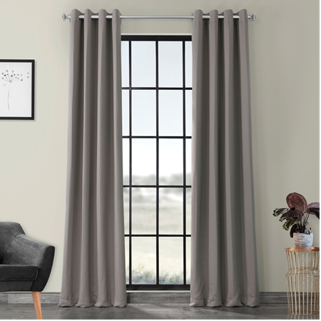 Neutral Grey Grommet Blackout Curtain