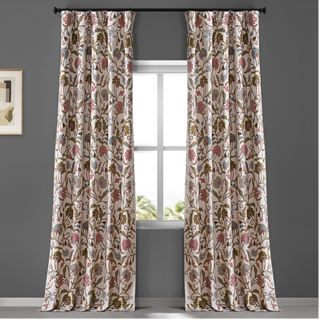 Embroidered Curtain, Embroidered Cotton Crewel Curtain