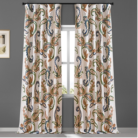 Laurel Embroidered Cotton Crewel Curtain, Embroidered Curtain