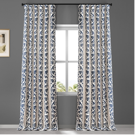 Florence Blue Embroidered Cotton Crewel Curtain, Embroidered Curtain