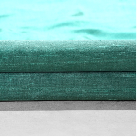Splashy Turquoise Textured Dupioni Silk Fabric