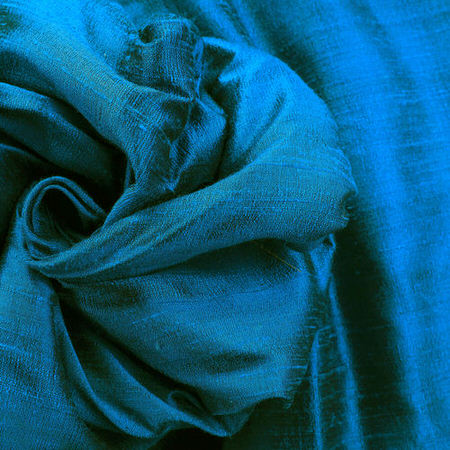 Intense Teal Textured Dupioni Silk Fabric