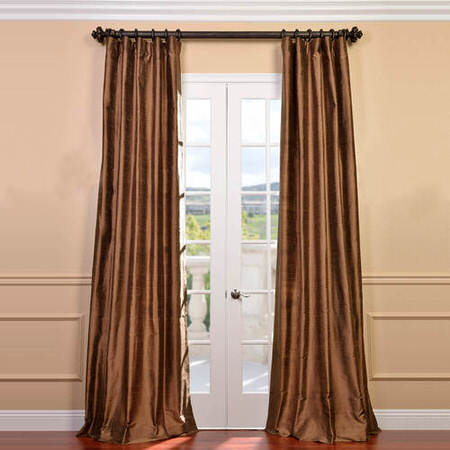 Mocha Textured Dupioni Silk Curtain