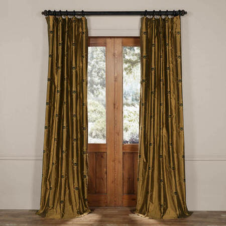 London Taupe Gold Silk Curtain