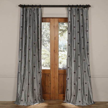 London Silver Moon Silk Curtain