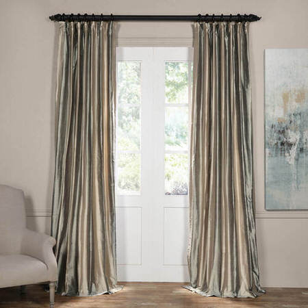 Serenity Silver Silk Stripe Curtain
