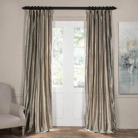 Serenity Silver Silk Stripe Curtain