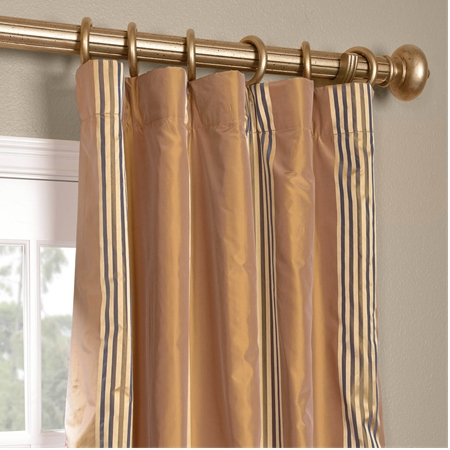 Waterford Gold Silk Stripe Curtain