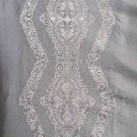 Chai Silver Embroidered Faux Silk Taffeta Fabric
