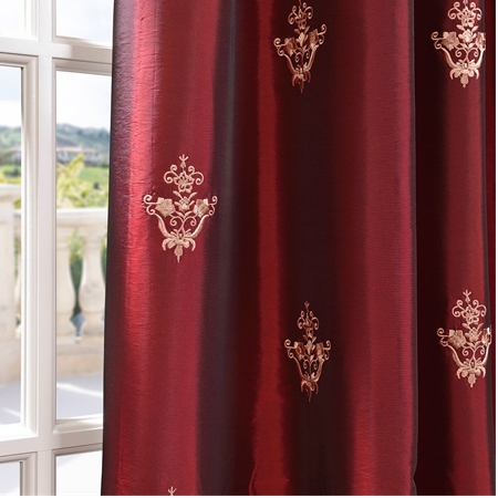 Trophy Syrah Embroidered Faux Silk Taffeta Curtain