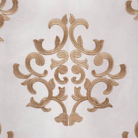 Ankara White Embroidered Faux Silk Taffeta Fabric