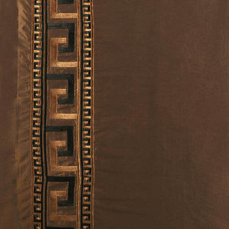 Greco Copper Embroidered Faux Silk Fabric