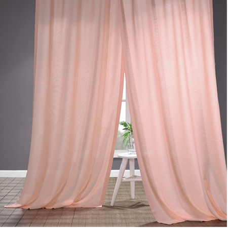 Primrose Pink Faux Linen Sheer Curtain