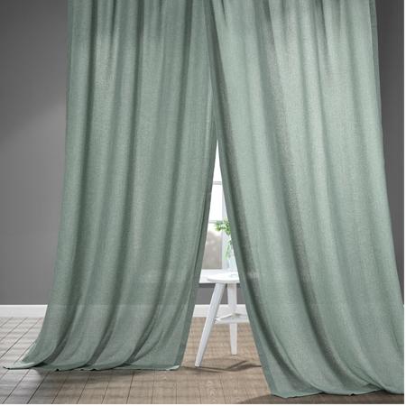 Bayside Aqua Faux Linen Sheer Curtain