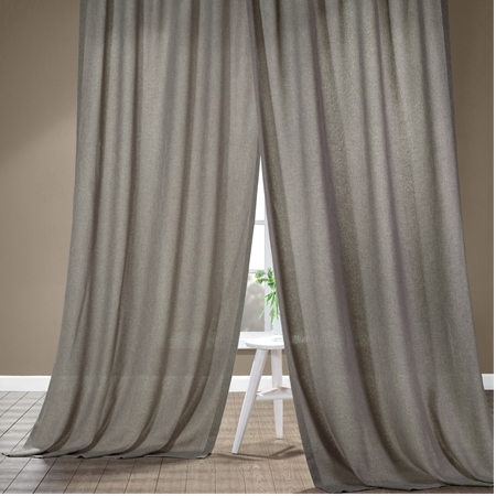 Metropolish Grey Faux Linen Sheer Curtain