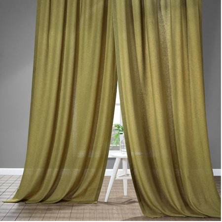 Mountain Olive Faux Linen Sheer Curtain