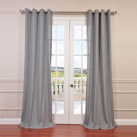 Heather Grey Faux Linen Grommet Semi Sheer Curtain
