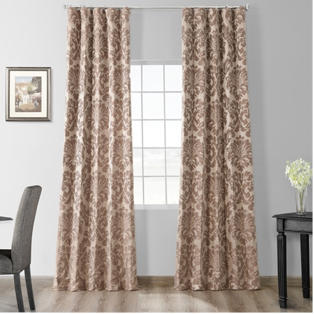 Astoria Taupe & Mushroom Faux Silk Jacquard Curtain