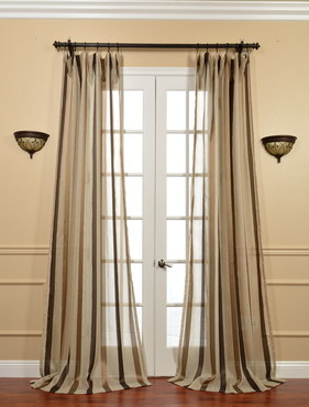 Carlton Taupe Linen Blend Stripe Sheer Curtain