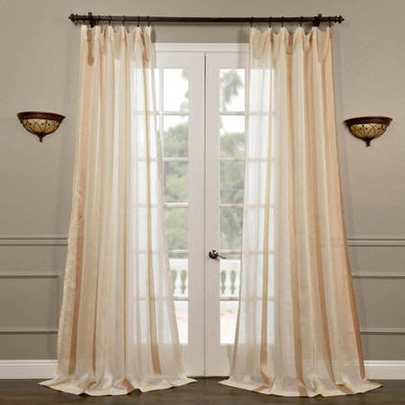 Carlton Cr̬me Linen Blend Stripe Sheer Curtain