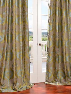 Borneo Blue Faux Silk Jacquard Curtain