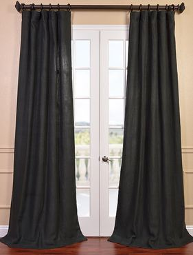Carbon Grey French Linen Curtain