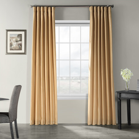 Butternut Vintage Textured Faux Dupioni Silk Curtain, faux Dupioni Silk Curtain