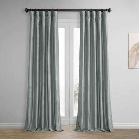 Silver Vintage Textured Faux Dupioni Silk Curtain