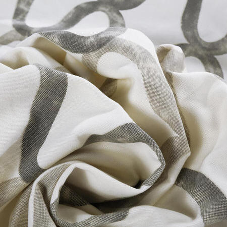 Printed Cotton Fabric, Silver Grey Printed Cotton Fabric