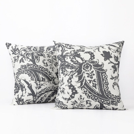 Edina Grey Printed Cotton Cover- PAIR